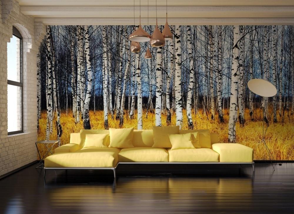تصویر درخت ها روی دیوار