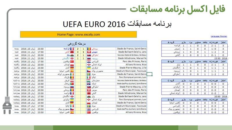 برنامه و صفحه نتایج مسابقات یورو 2016 در اکسل