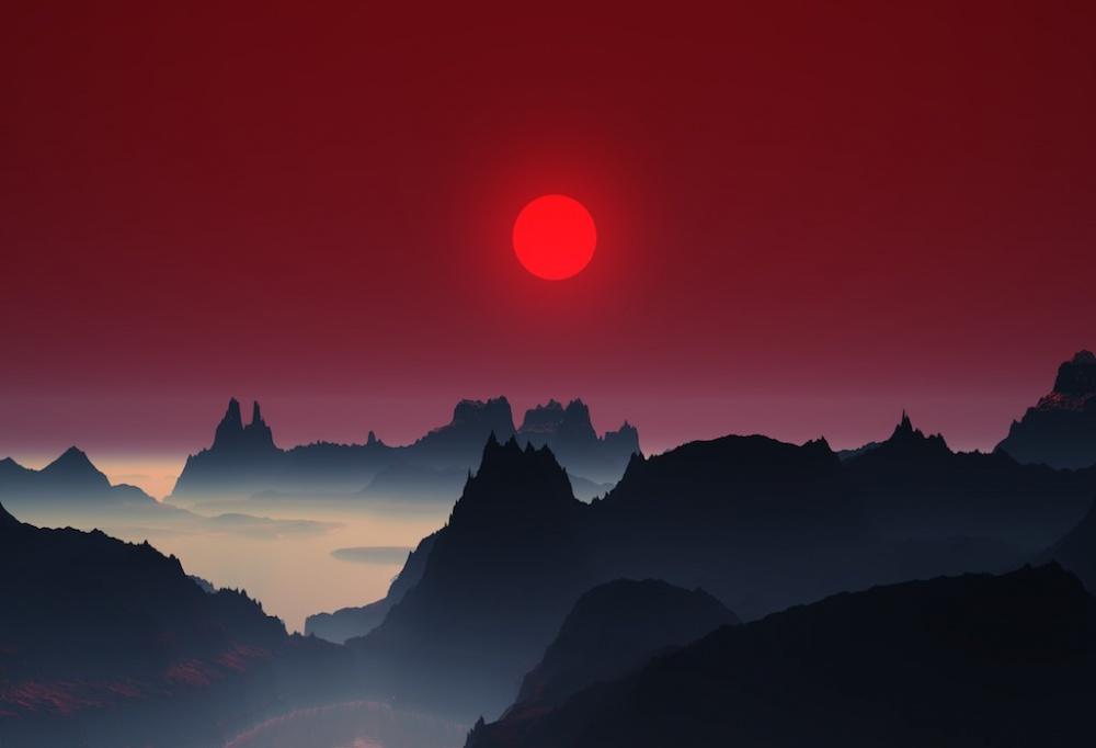 غروب خورشید در کوههای ژاپن.