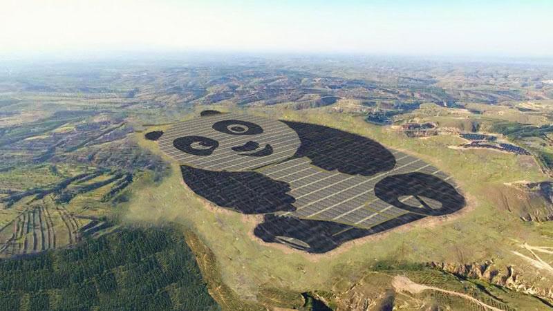 ساخت یک مزرعه خورشیدی به شکل پاندا در چین